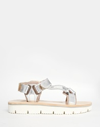 H By Hudson Calypso Silver Leather Flat Sandals