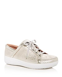 Fitflop F Sporty Ii Python Embossed Leather Platform Lace Up Sneakers Urban White
