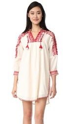 Sea Sarafan Fringe Tunic Dress Red Cream
