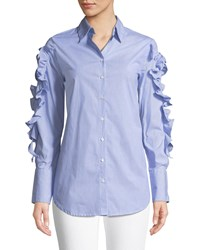 Philosophy Striped Woven Button Down Blouse W Ruffle And Tie Details Blue White