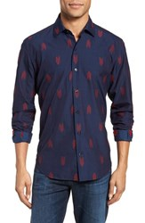 Culturata Slim Fit Embroidered Sport Shirt Navy