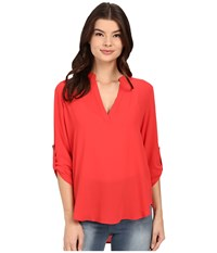 Brigitte Bailey Channing V Neck Blouse Hawaiin Sunset Women's Blouse Red