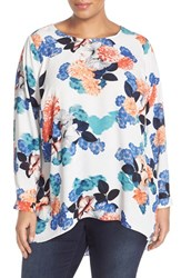 Plus Size Women's Vince Camuto Pleat Back Floral High Low Blouse New Ivory
