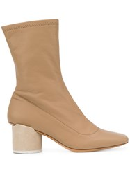 Jacquemus Square Toe Ankle Boots Nude Neutrals