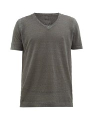 120 Lino V Neck Linen T Shirt Charcoal