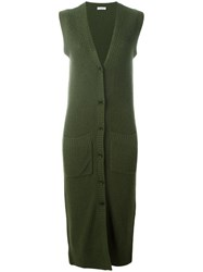 P.A.R.O.S.H. Sleeveless Long Cardigan Green