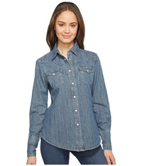 Stetson Boyfriend Fit Classic Western Shirt Blue Women's Clothing