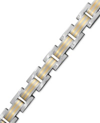 Macy's Men's 14K Gold And Titanium Bracelet Square Link Bracelet