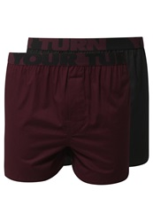 Your Turn 2 Pack Boxer Shorts Black Bordeaux Solid Dark Purple
