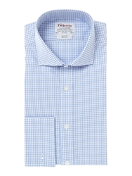 T.M.Lewin Gingham Slim Fit Cutaway Collar Formal Shirt Blue