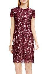 Vince Camuto Women's Short Sleeve Scallop Lace Sheath Dress Raisin