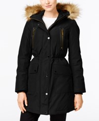 Michael Kors Hooded Faux Fur Trim Down Anorak Jacket Black