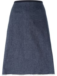 Odeeh A Line Denim Skirt Blue