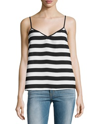 French Connection V Neck Stripe Tank Top Black White