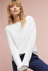 Anthropologie Starry Boatneck Pullover White
