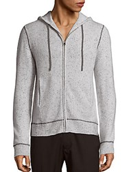 Saks Fifth Avenue Black Speckled Cashmere Hooded Jacket Light Grey