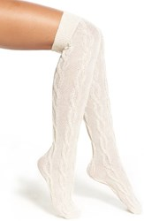 Women's Nordstrom Over The Knee Cable Socks Ivory Pristine