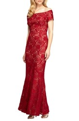 Alex Evenings Women's Off The Shoulder Lace Mermaid Gown