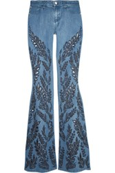 Alice Olivia Ryley Low Rise Broderie Anglaise Trimmed Flared Jeans Light Denim
