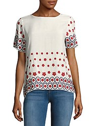 Saks Fifth Avenue Red Floral Embroidered Top Navy Red