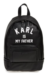 Eleven Paris 'Karl Is My Father' Faux Leather Backpack With Rain Cover Black