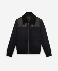 The Kooples Fur Collar Black Wool Aviator Jacket