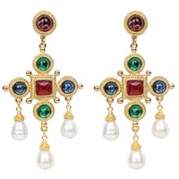 Ben Amun Cross And Pearly Dangle Earrings Gold
