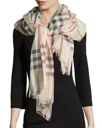 Burberry Giant Check Gauze Scarf Stone Stone Check