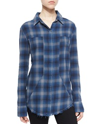 Rta Denim Joplin Plaid Flannel Button Down Shirt Outlaw