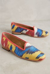 Anthropologie Artemis Printed Silk Smoking Loafers Yellow