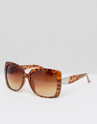 7X Wide Square Sunglasses Brown Tortoiseshell