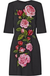 Dolce And Gabbana Floral Print Crepe Mini Dress Black