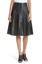 Rebecca Taylor Pleated Faux Leather Skirt Black