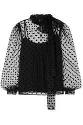 Costarellos Bow Embellished Polka Dot Flocked Tulle Blouse Black