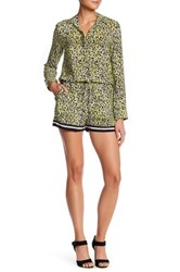 Charlie Jade Print Long Sleeve Silk Romper Green