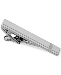 Geoffrey Beene Polished Gunmetal With Itersecting Vertical And Horizontal Lines Tie Clip Gun Metal