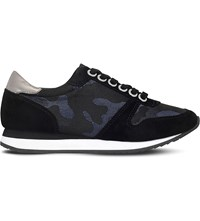 Carvela Libby Camouflage Suede Trainers Blue