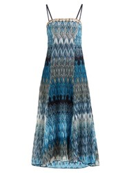 Missoni Metallic Leaf Knitted Midi Dress Blue Multi