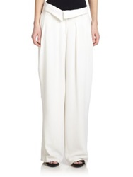 Jason Wu Crepe Cady Wide Leg Pants Chalk