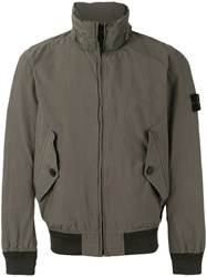 Stone Island Ribbed And Shell Trimmed Windbreaker Green
