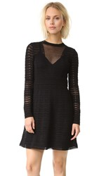 M Missoni Solid Zigzag Knit Dress Black