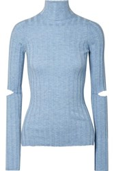 Helmut Lang Cutout Ribbed Wool Turtleneck Sweater Light Blue