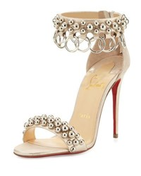 Christian Louboutin Gypsandal Ring Trim 100Mm Red Sole Sandal Latte White Gold