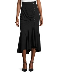 Michael Kors Draped Side Button Midi Skirt Black