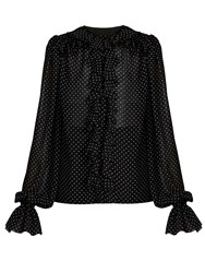 Dolce And Gabbana Ruffled Polka Dot Print Georgette Blouse Black White