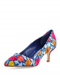 Manolo Blahnik Bb Floral Embroidered 50Mm Pump Blue