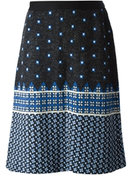 Lanvin Vintage Jacquard Knitted Skirt Black