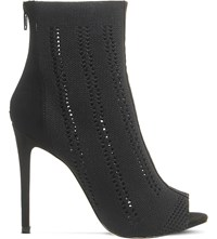 Office Lipstick Knitted Heeled Ankle Boots Black Knit