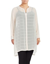 Vince Camuto Plus Sheer Embroidered Stripe Tunic Pink