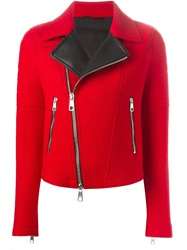 Neil Barrett Jersey Biker Jacket Red